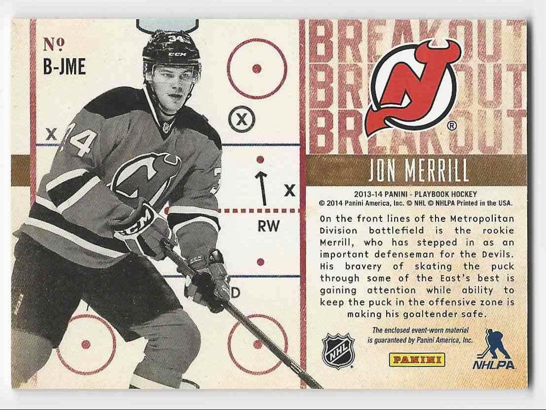2013-14 Panini Playbook Breakout Jerseys Jon Merrill #B-JME card back image