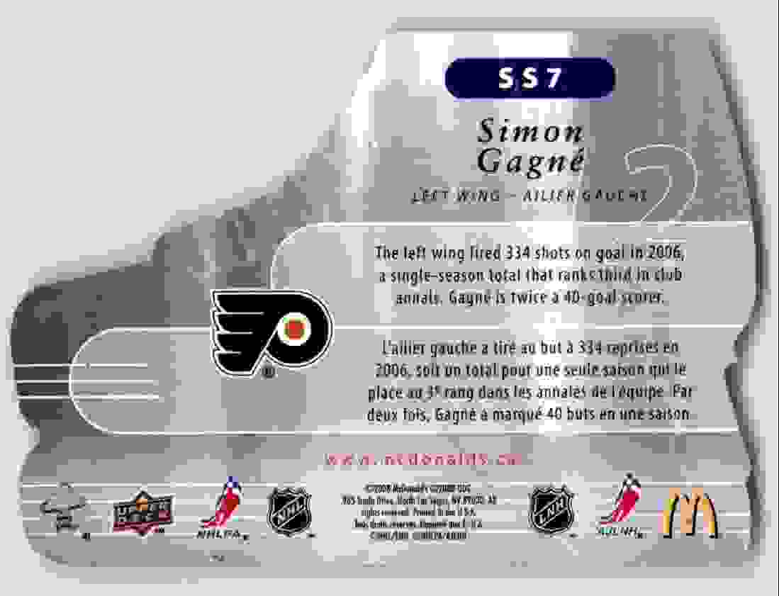 2008-09 Mcdonald's Upper Deck Speed Skaters Simon Gagne #SS7 card back image