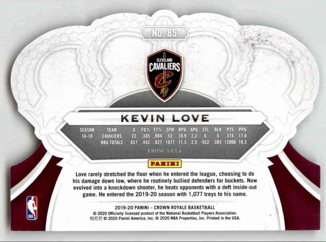 2019-20 Crown Royale Kevin Love #85 card back image