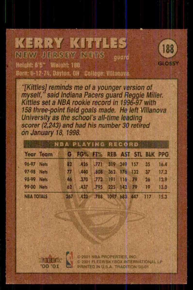 2000-01 Fleer Glossy Kerry Kittles #188 card back image