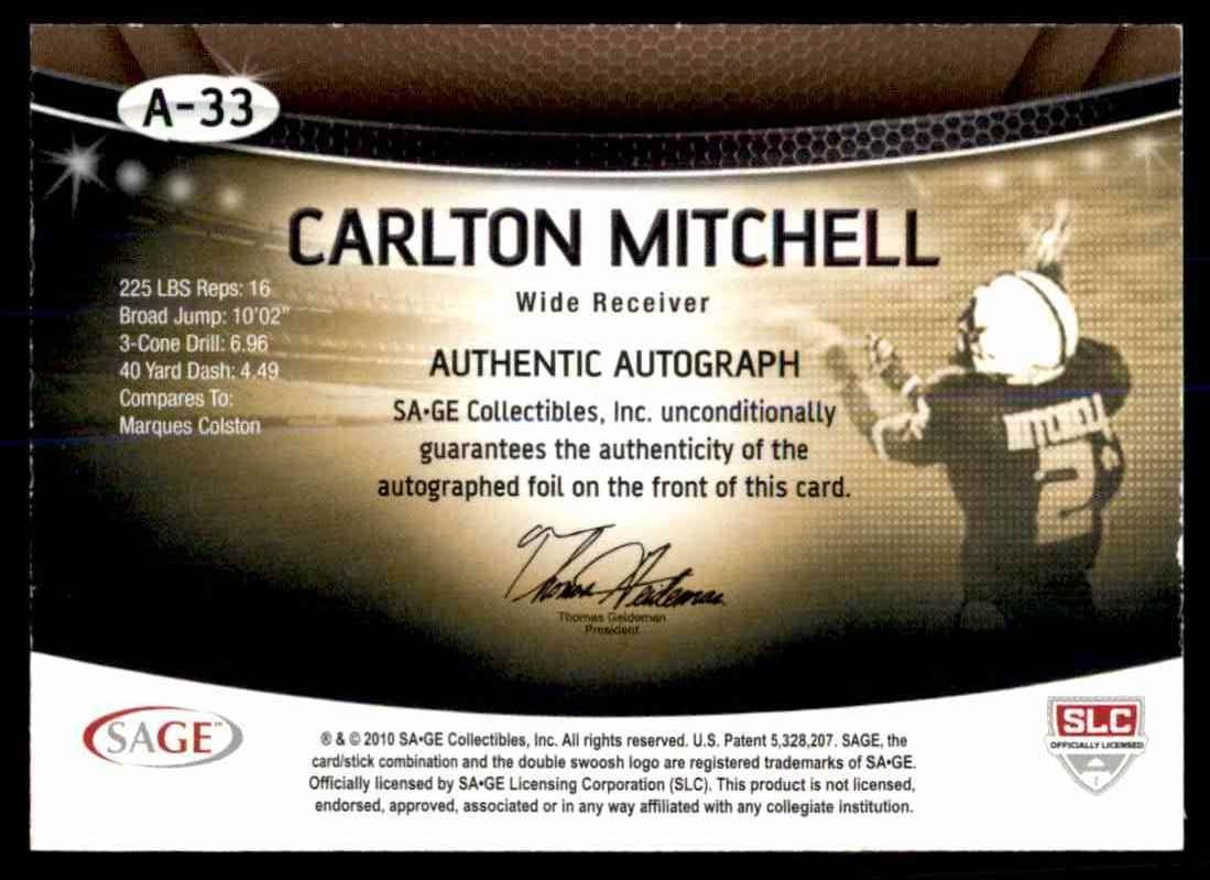 2010 Sage Hit Carlton Mitchell card back image