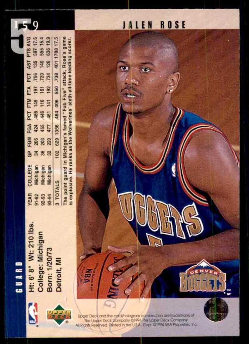 1994-95 Upper Deck Jalen Rose RC #159 card back image