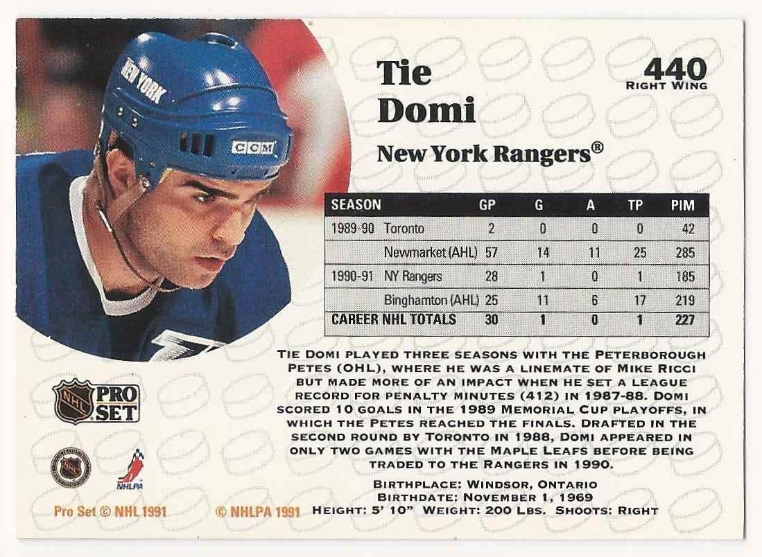 1991-92 Pro Set Tie Domi #440 card back image