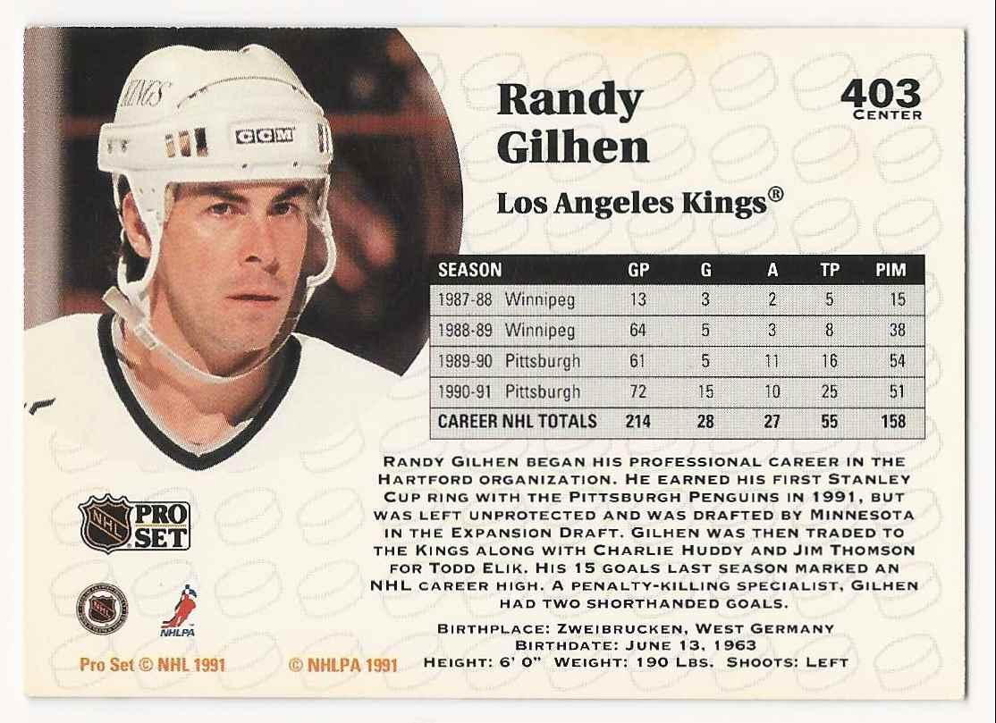 1991-92 Pro Set Randy Gilhen #403 card back image