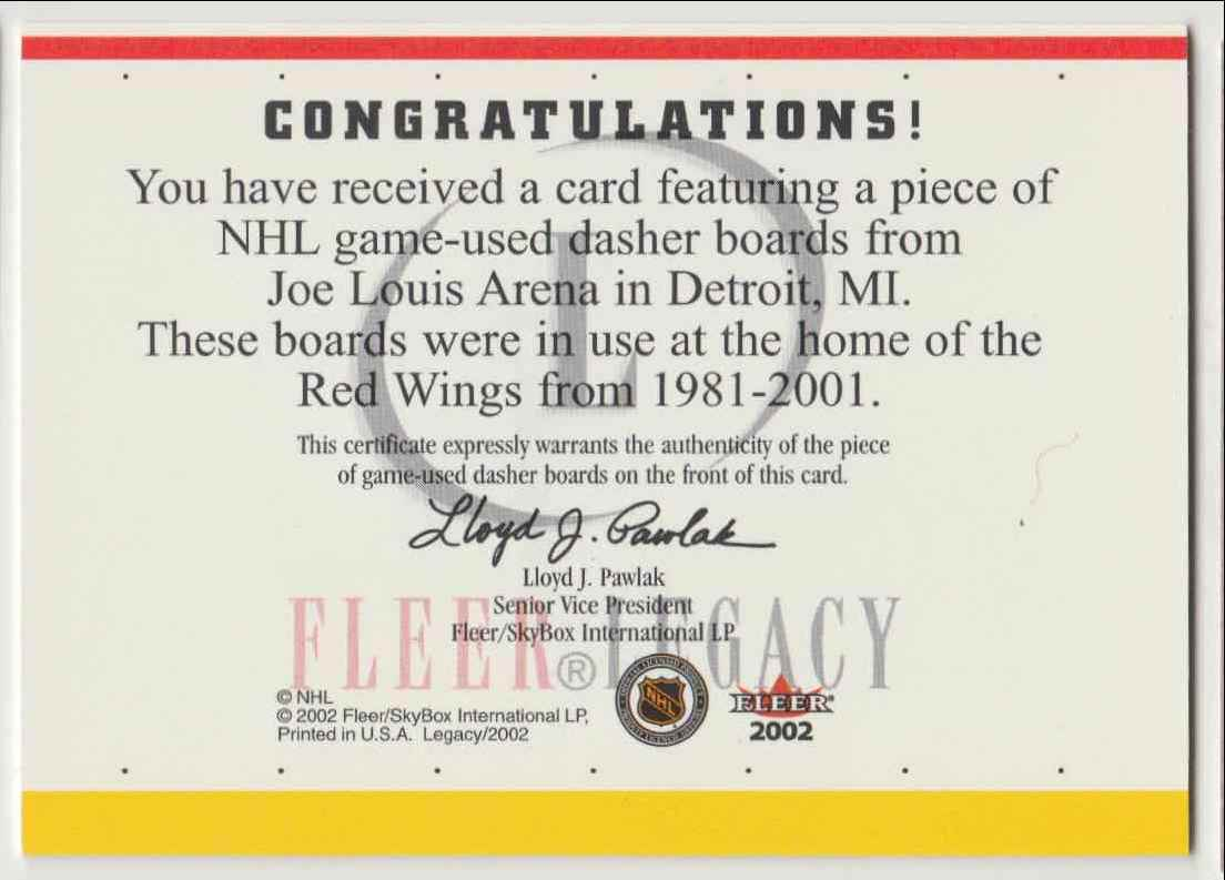 2002-03 Fleer Borje Salming card back image