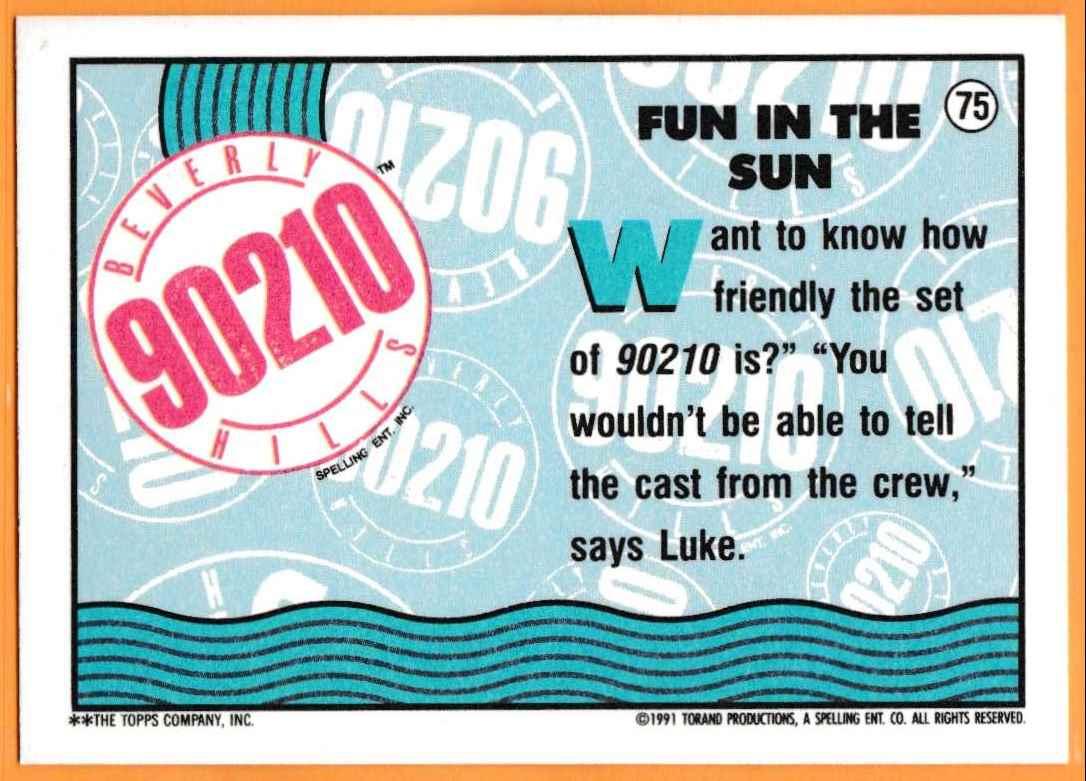 1991 90210 90210 Fun In The Sun #75 card back image