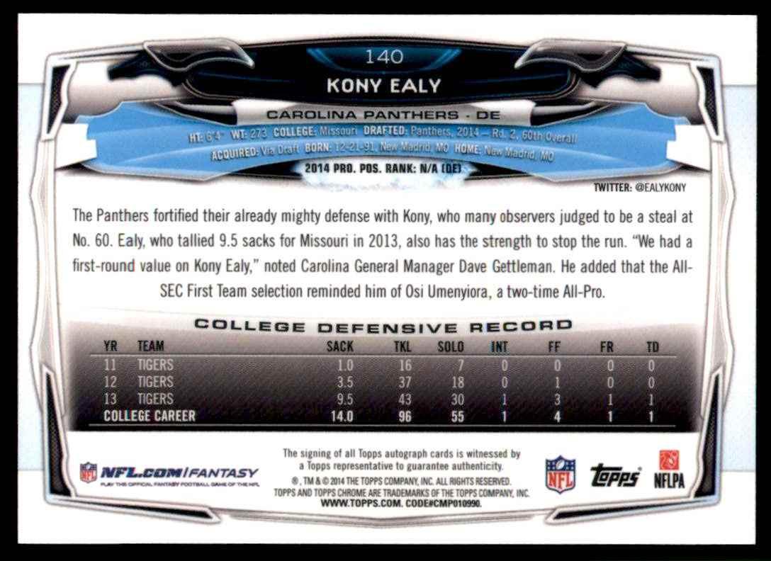 2014 Topps Chrome Rookie Autographs Kony Ealy #140 card back image