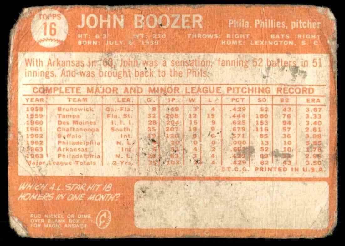 1964 Topps John Boozer #16 card back image