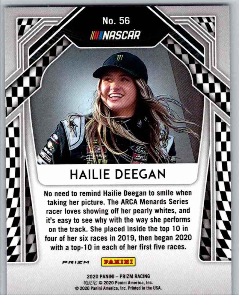 2020 Prizm Racing White Sparkle Hailie Deegan #56 card front image