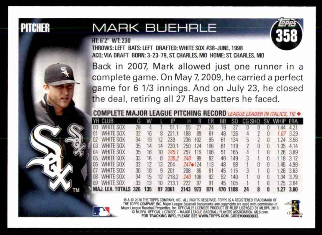 2010 Topps Mark Buehrle #358 card back image