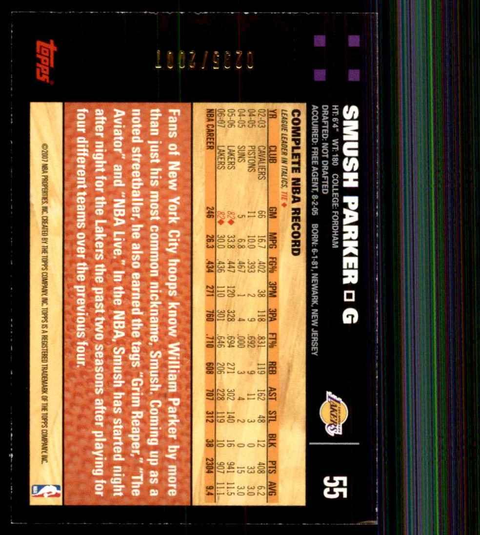 2007-08 Topps Gold Smush Parker #55 card back image