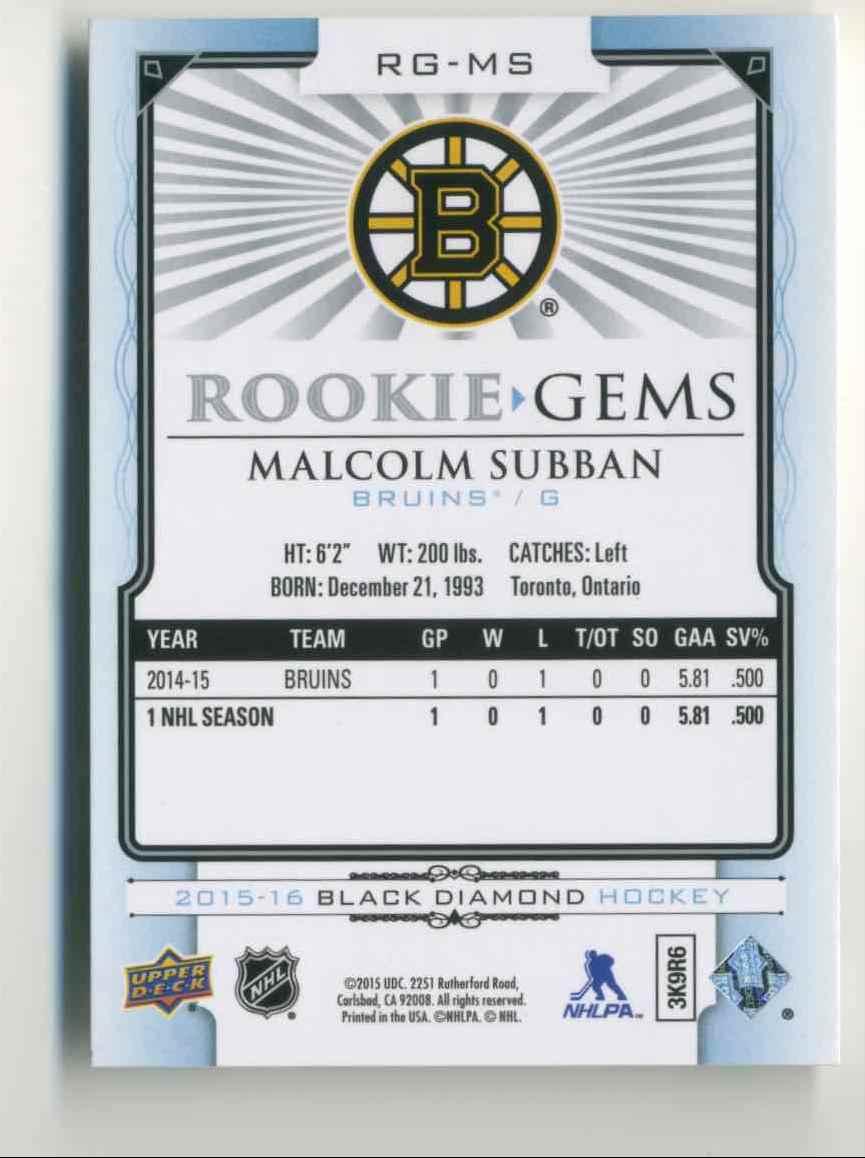 2015-16 Upper Deck Black Diamond Rookie Gems Malcolm Subban #RG-MS card back image