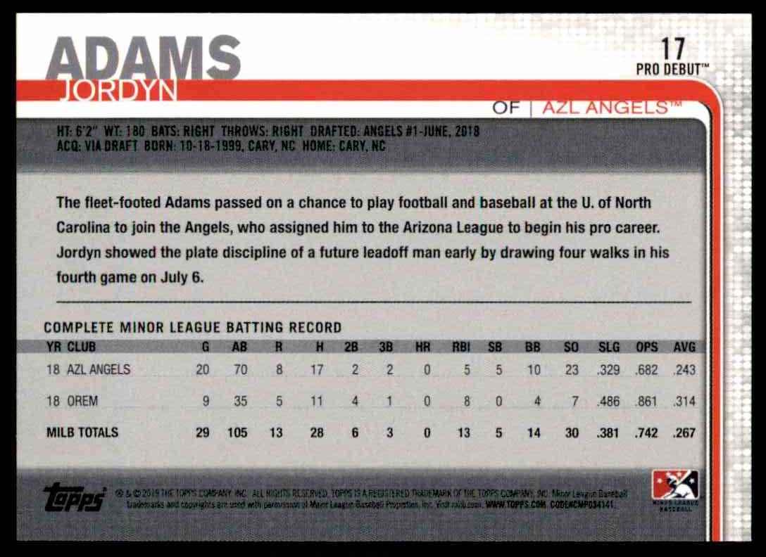 2019 Topps Pro Debut Jordyn Adams #17 card back image
