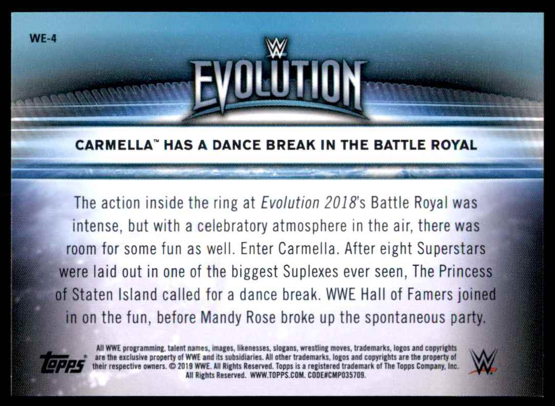 2019 Topps Wwe Women's Division Women's Evolution Carmella Has A Dance Break In The Battle Royal #WE4 card back image