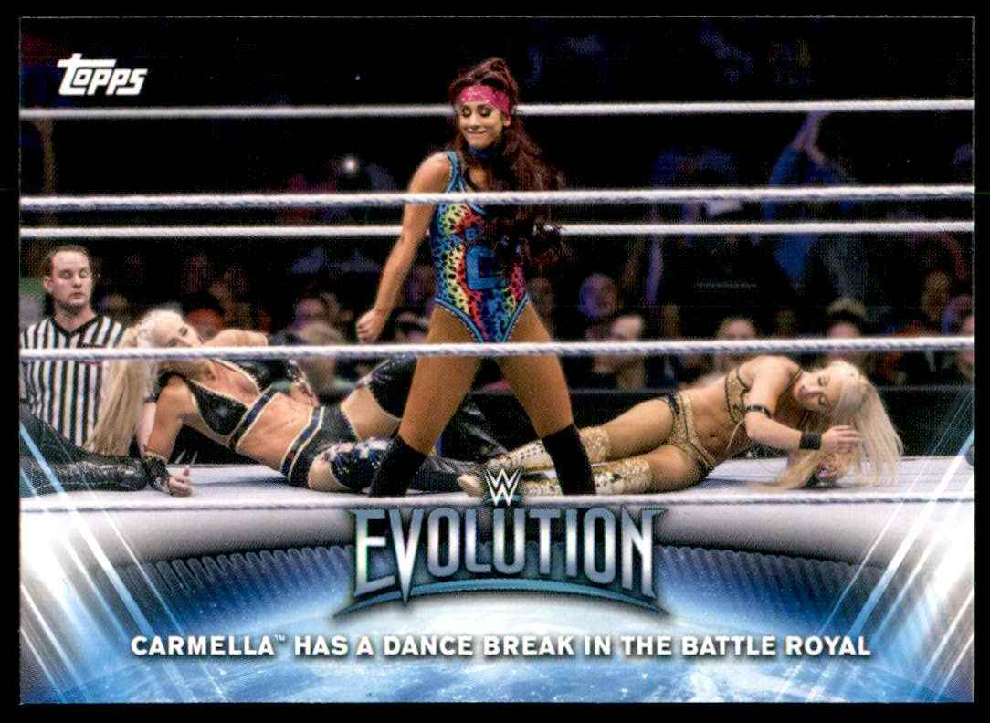 2019 Topps Wwe Women's Division Women's Evolution Carmella Has A Dance Break In The Battle Royal #WE4 card front image