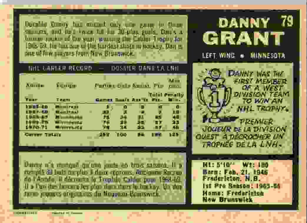 1971-72 O-Pee-Chee Danny Grant #79 card back image