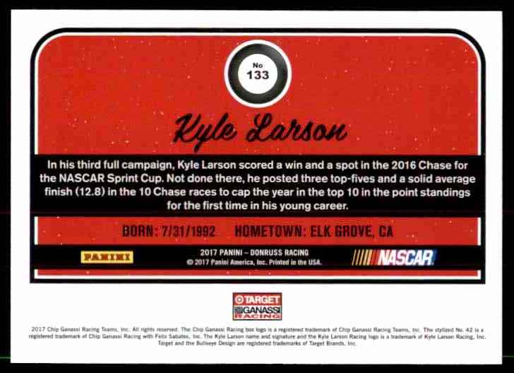 2017 Donruss Kyle Larson #133 card back image