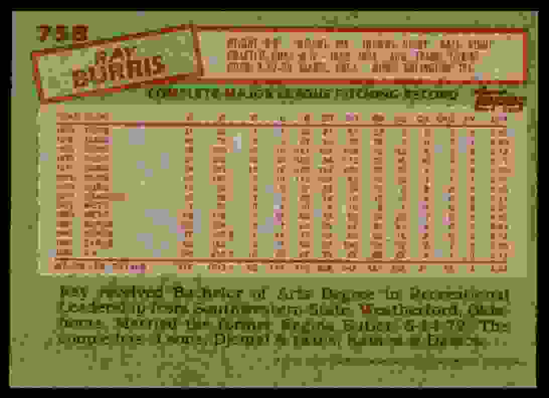 1985 Topps Ray Burris #758 card back image