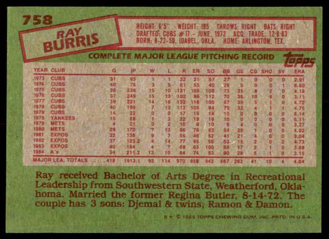 1985 Topps Ray Burris #758 card back image