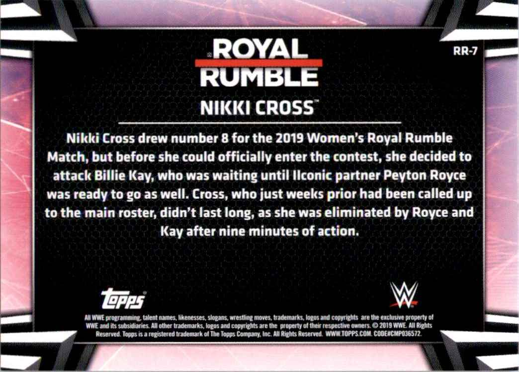 2019 Topps Wwe Women's Division Women's Royal Rumble Nikki Cross #RR7 card back image