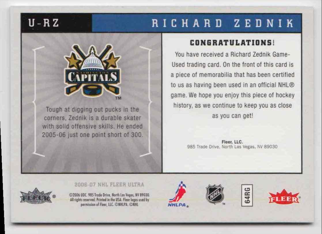 2006-07 Ultra Uniformity Jersey Richard Zednik #U-RZ card back image
