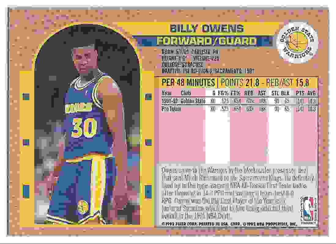 1992 93 Fleer Tony s Pizza Billy Owens on Kronozio
