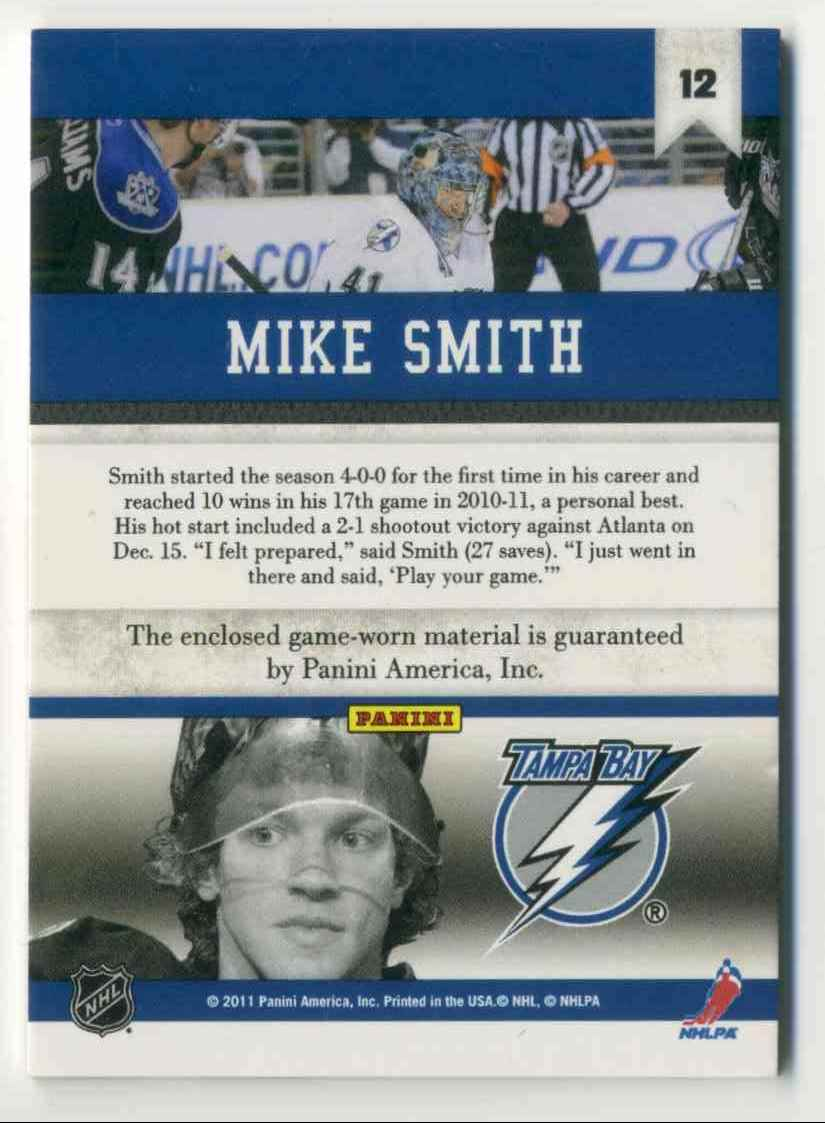 2010-11 Panini All Goalies Stopper Sweaters Mike Smith #12 card back image