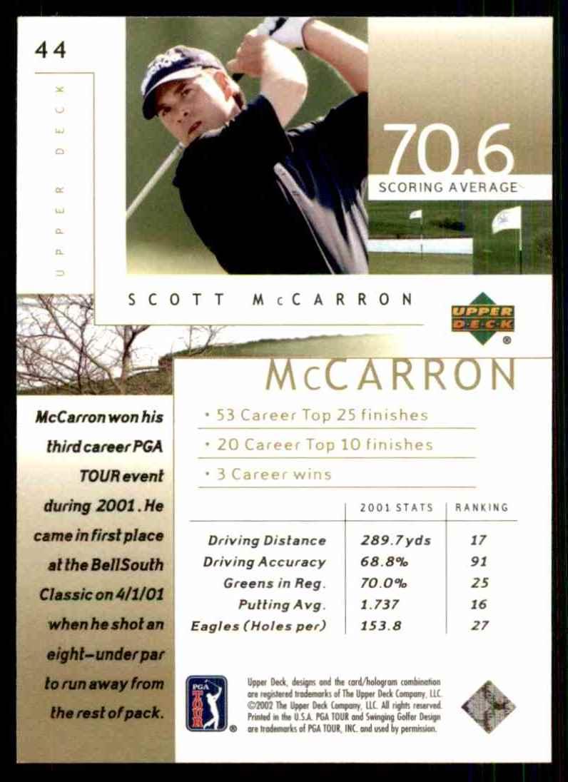 2002 Upper Deck Scott McCarron RC #44 card back image