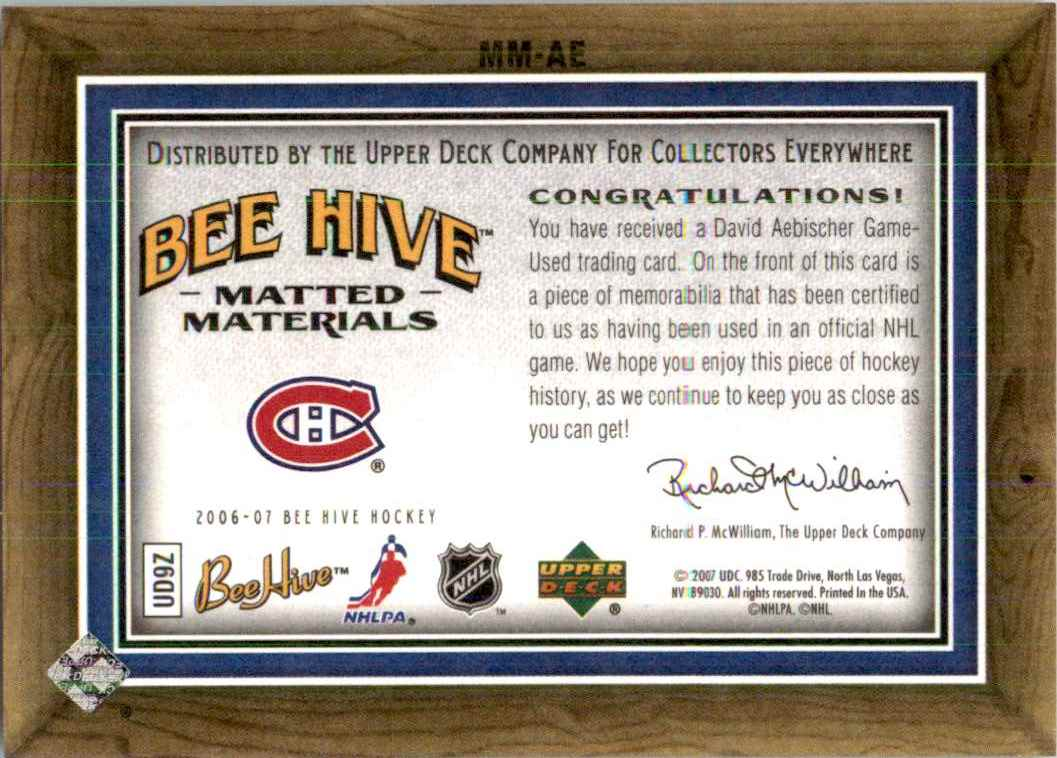 2006-07 Upper Deck Beehive Matted Materials David Aebischer #MM-AE card back image