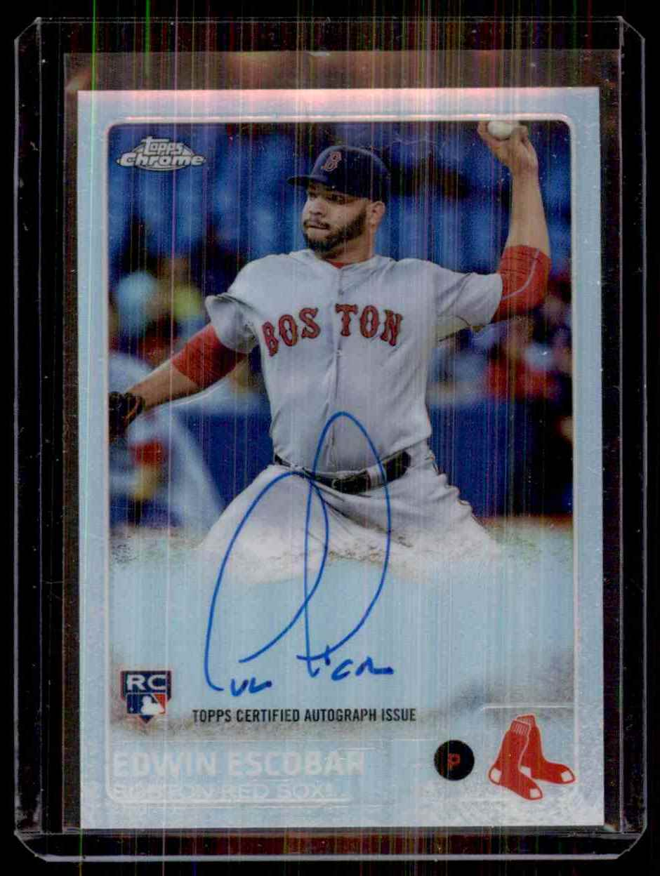 2015 Topps Chrome Rookie Autographs Refractors Edwin Escobar #AREE card front image