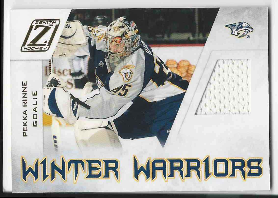 2010-11 Zenith Winter Warriors Materials Pekka Rinne #PR card front image
