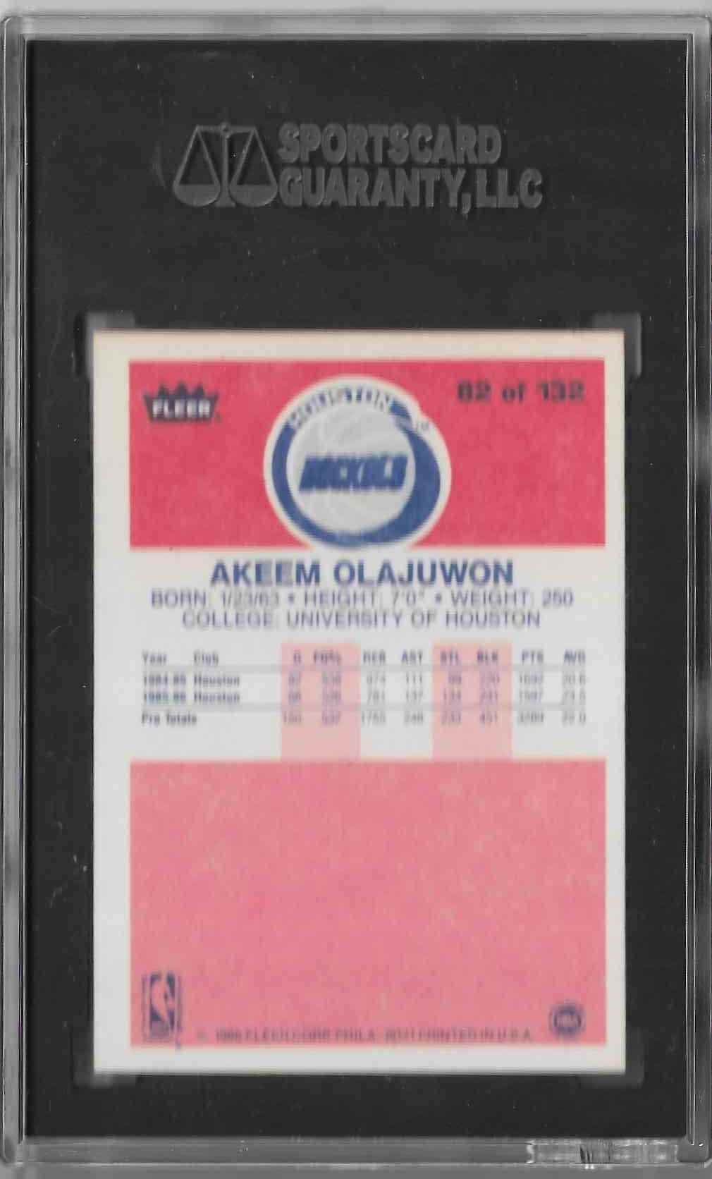 1986-87 Fleer Akeem Olajuwon #82 card back image