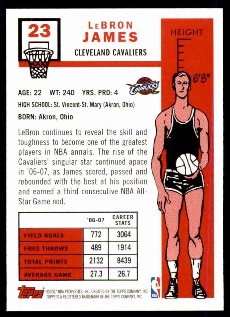 2007-08 Topps 1957-58 Variations Lebron James #23 card back image