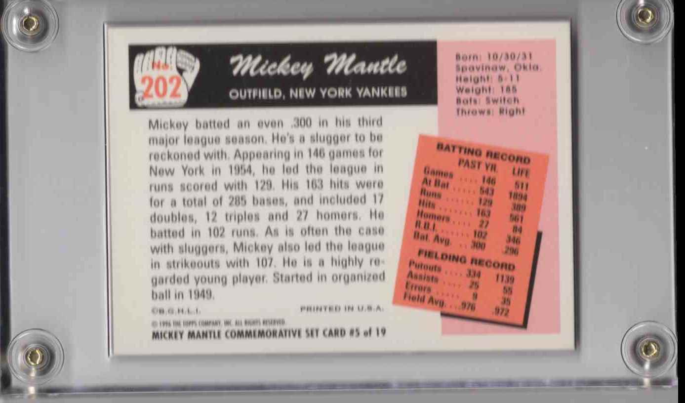 1996 Topps Mickey Mantle Commemorative Set Mickey Mantle #5 card back image