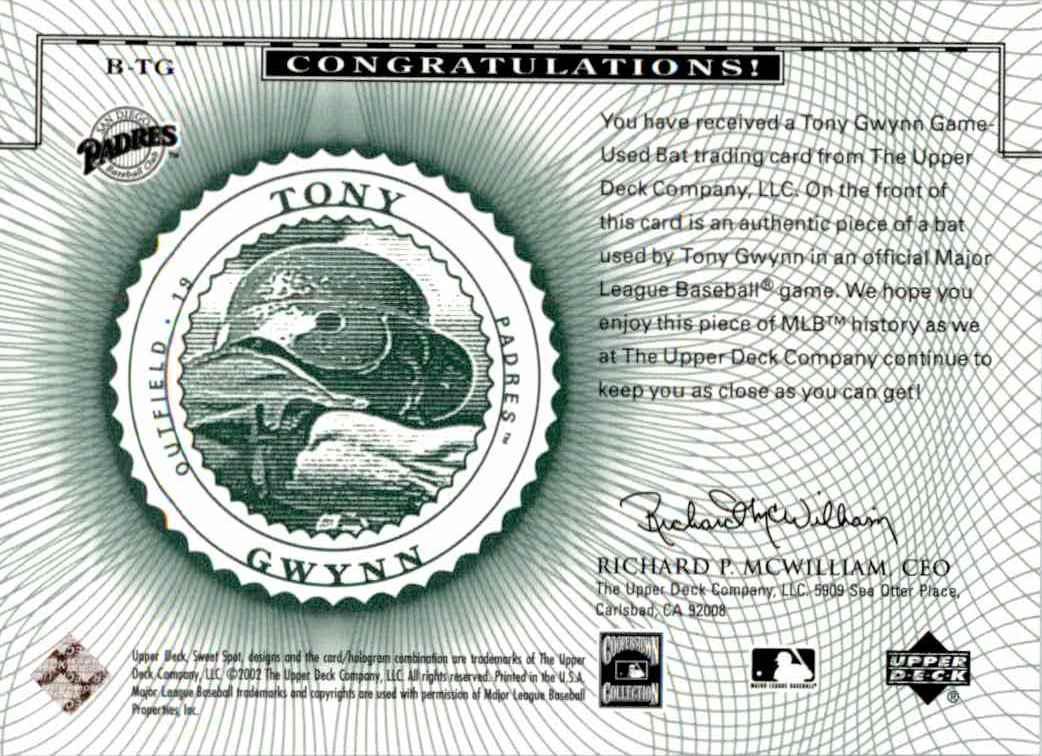 2002 Upper Deck Sweet Spot Classics Game Used Tony Gwynn #B-TG card back image