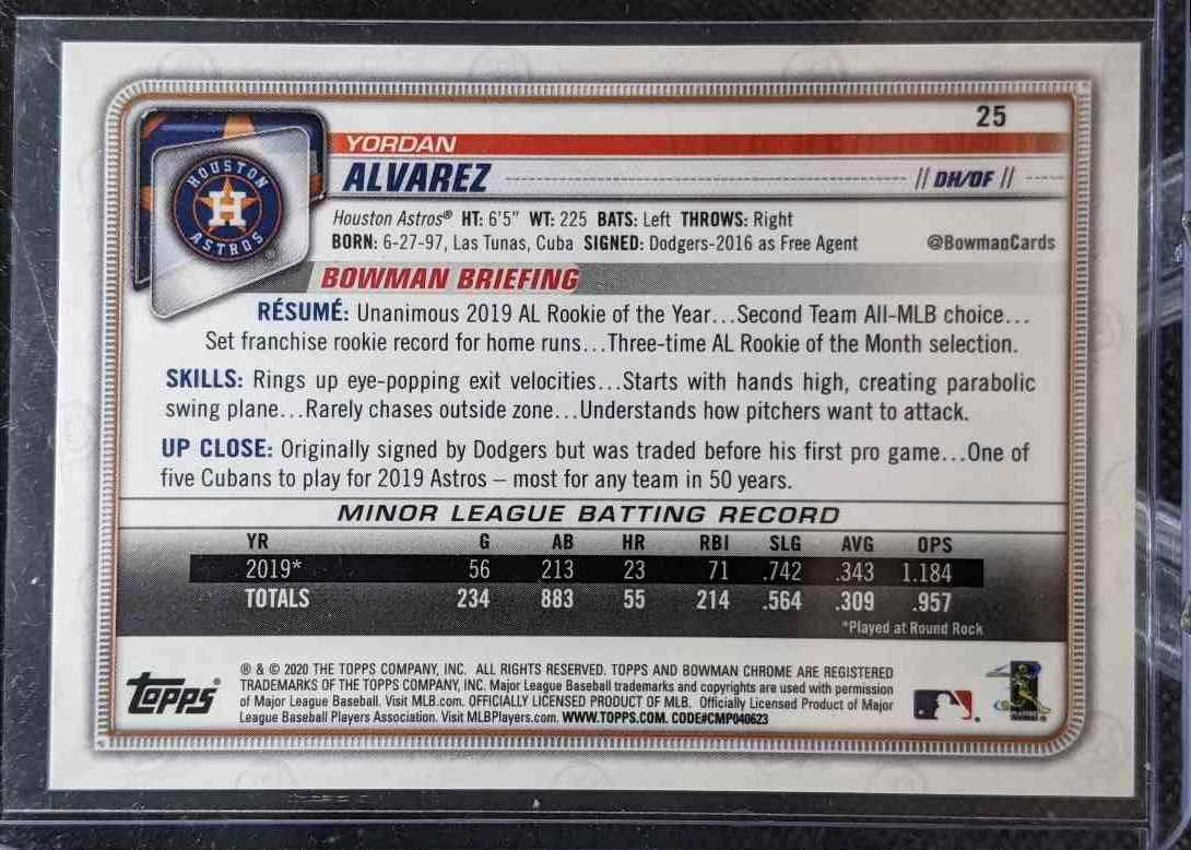 2020 Bowman Chrome Yordan Alvarez #25 card back image
