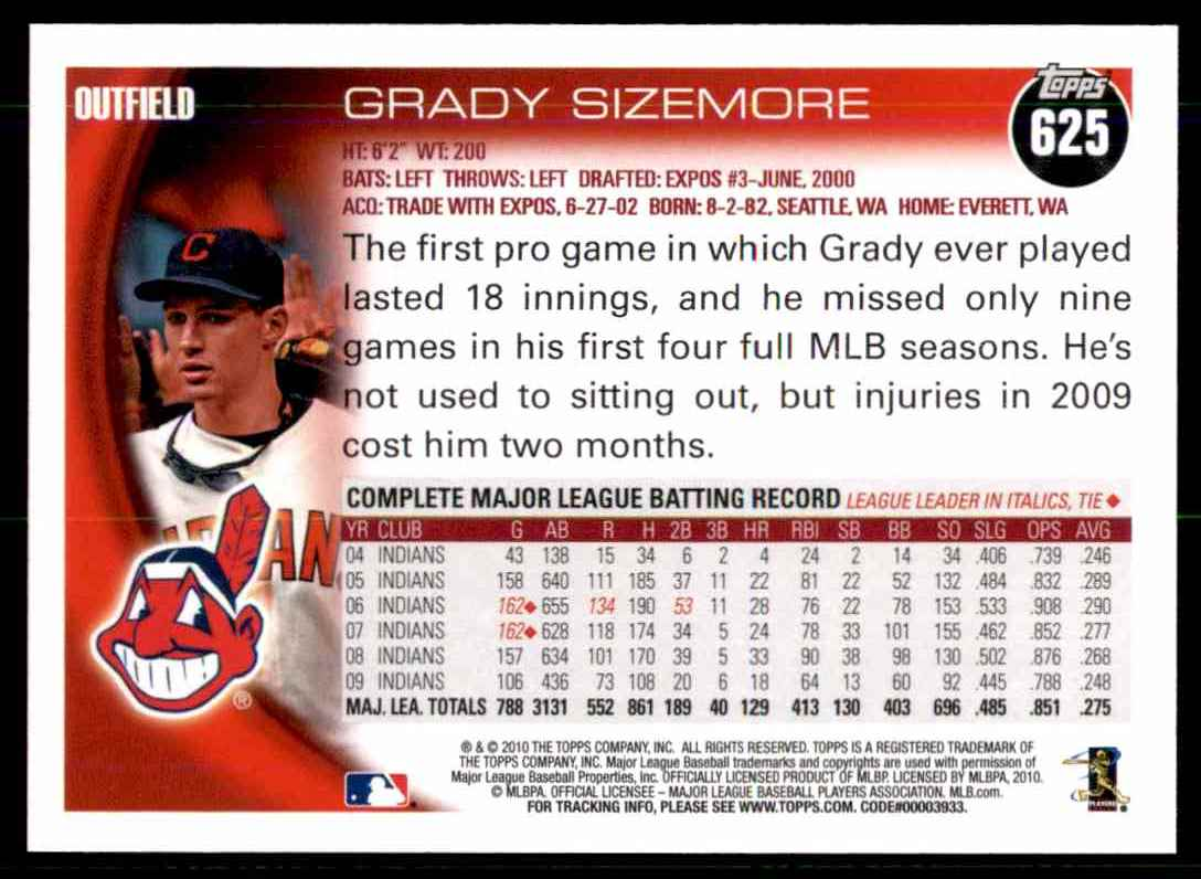 2010 Topps Grady Sizemore #625 card back image