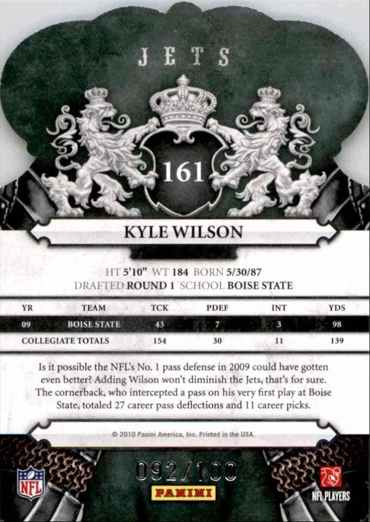 2010 Crown Royale Blue Kyle Wilson #161 card back image