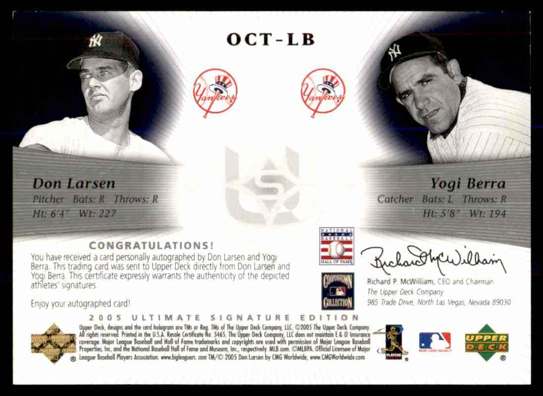 2005 Upper Deck Ultimate Signature Edition Don Larsen Yogi Berra card back image
