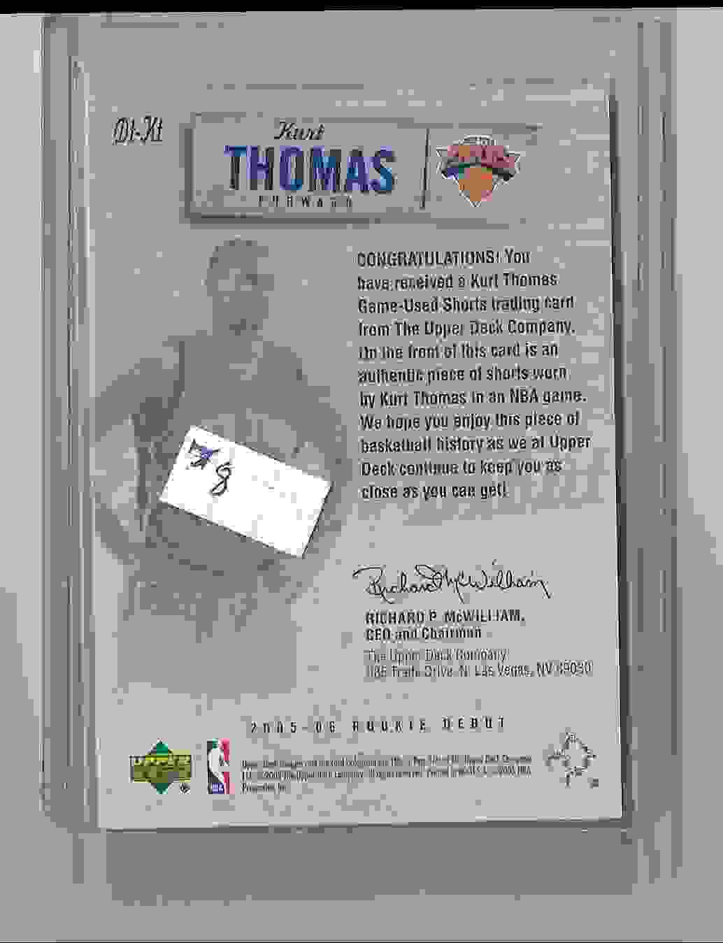 2005-06 Upper Deck Rookie Debut Threads Kurt Thomas #KT card back image