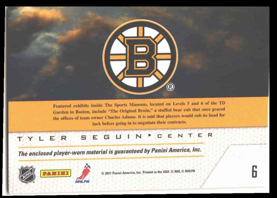 2011-12 Pinnacle Game Night Tyler Seguin #6 card back image