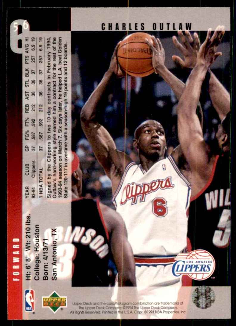 1994-95 Upper Deck Bo Outlaw RC #56 card back image