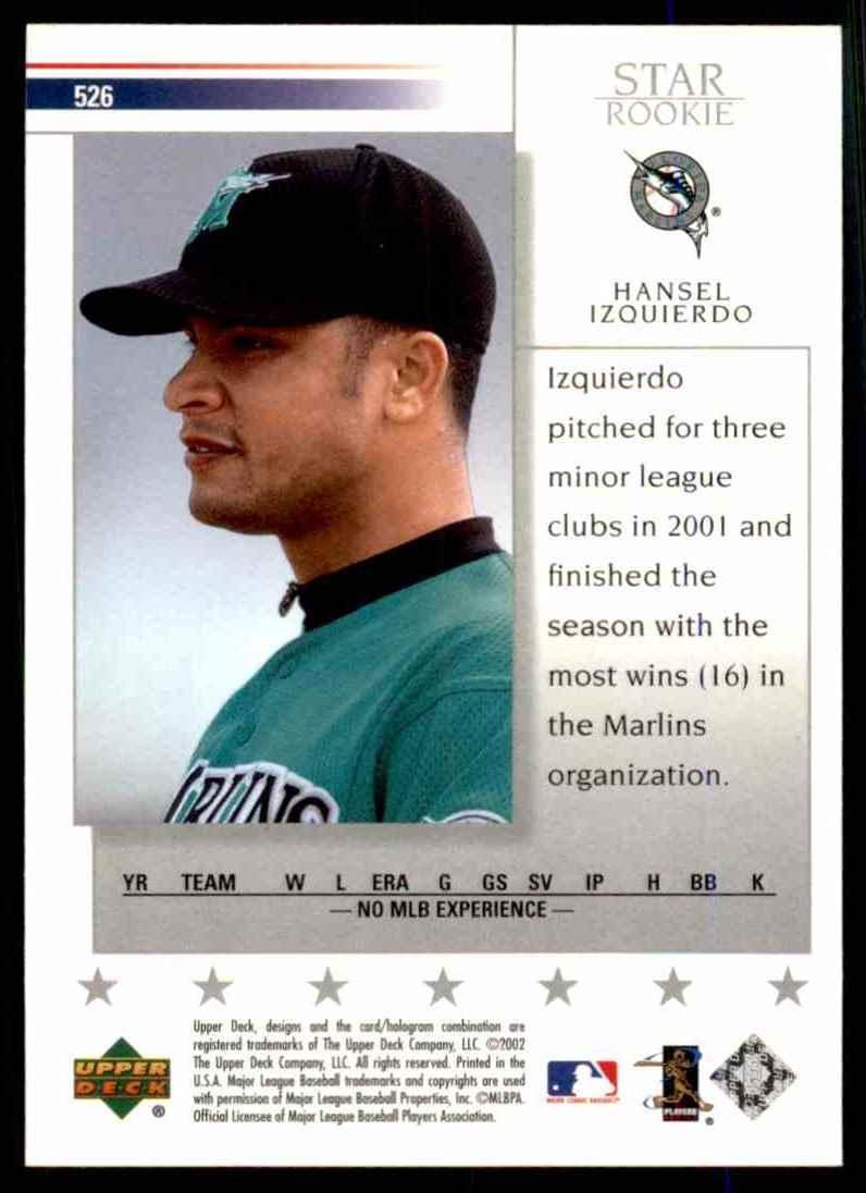 2002 Upper Deck Hansel Izquierdo Sr RC #526 card back image