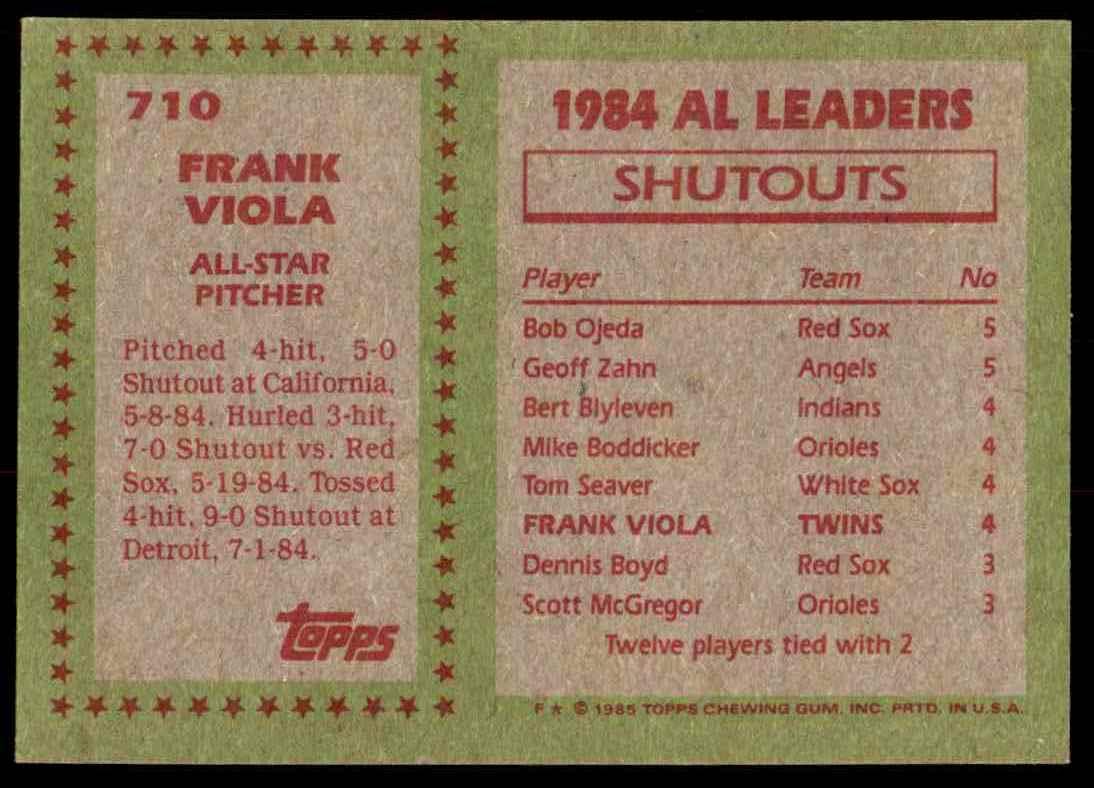 1985 Topps Frank Viola #710 card back image