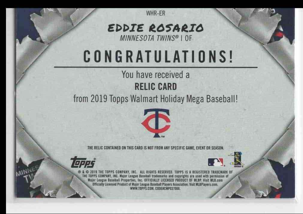 2019 Topps Holiday Mega Eddie Rosario #WHR-ER card back image