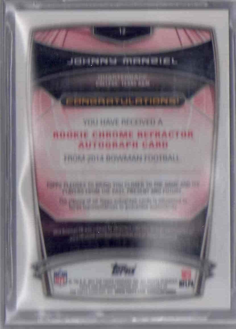 2014 Bowman Chrome Rookie Autographs Gold Refractors Johnny Manziel #12 card back image