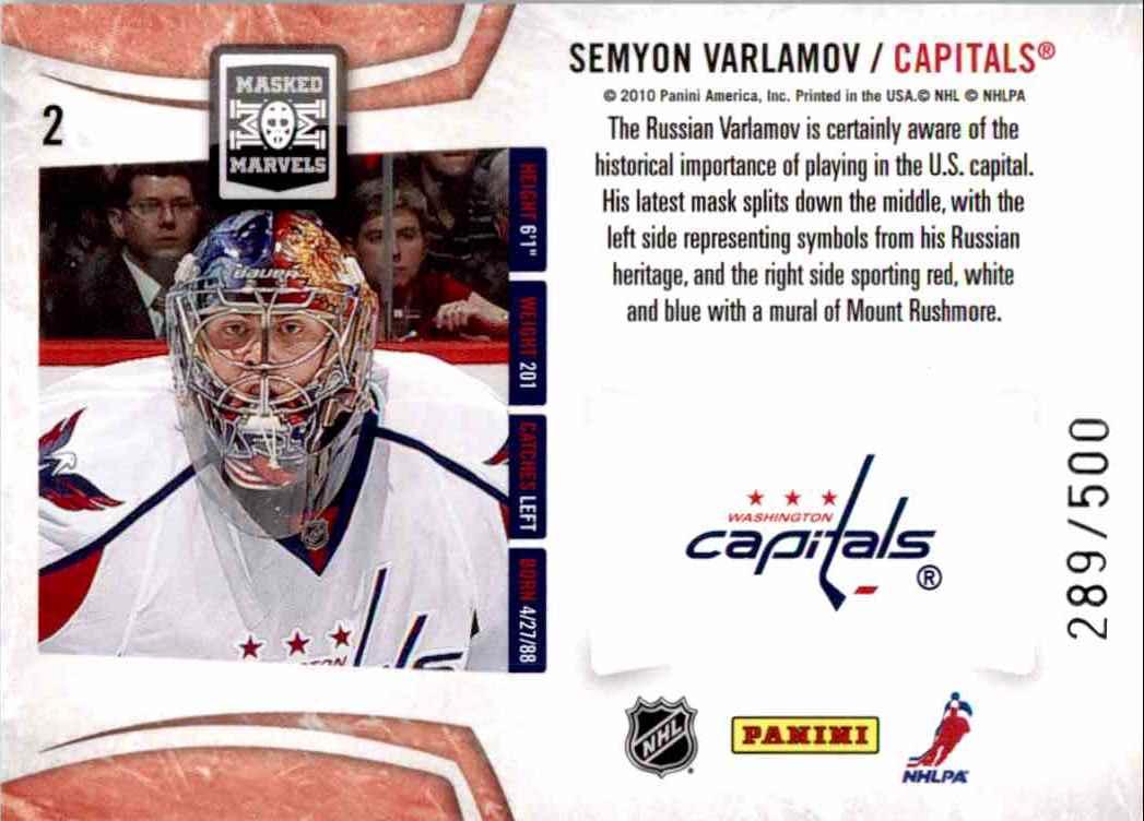 2010-11 Panini Certified Masked Marvels Semyon Varlamov #2 card back image
