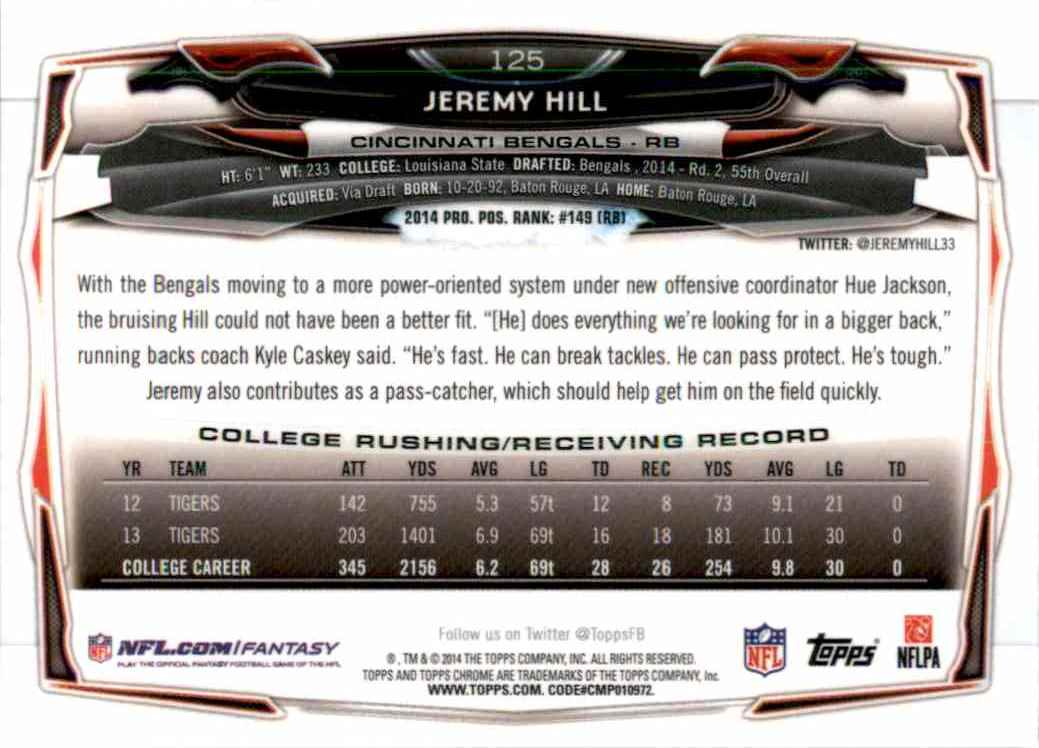 2014 Topps Chrome Jeremy Hill RC #125 card back image