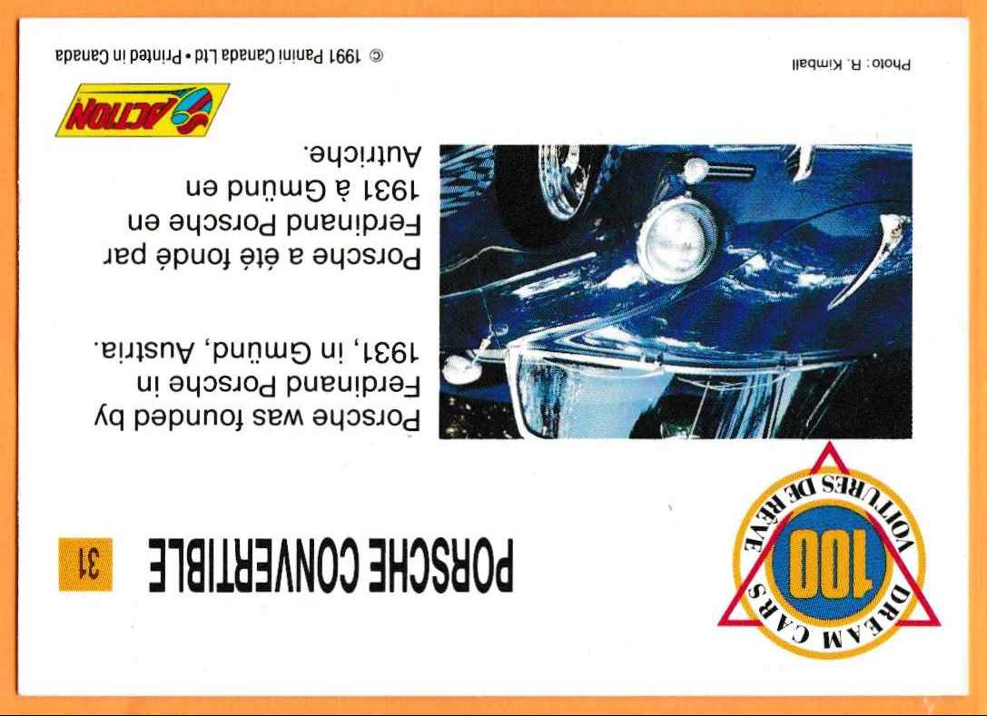 1991 Vintage Sports Cars Vintage Sports Cars Porsche Convertible #31 card back image