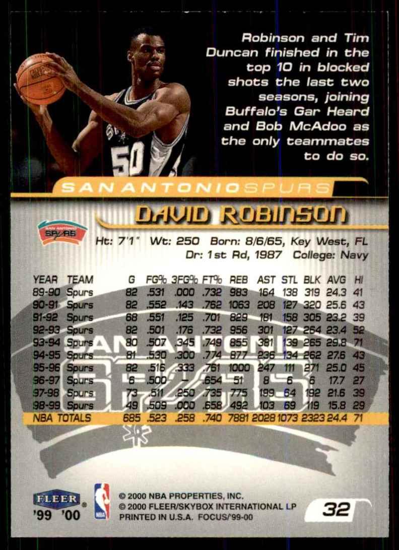 1999-00 Fleer Focus David Robinson #32 card back image
